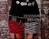 Red Zebra and White Zebra Split PUNK Skirt Street Punk Clothing Animal Print Rock n Roll Mini Skirt 80s Rocker Glam Rock Hair Metal XS - XXL