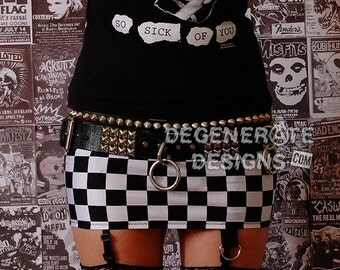Black and White Checkered Adicts Punk Skirt Punk Clothing Ska Checkerboard Wonderland Rock n Roll Mini Skirt 80s Rocker Glam Rock XS - XXL