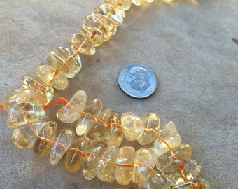 Citrine Nugget Beads, Large, 16 inch strand, 10 to 15 mm Approx. (9mm thick approx)
