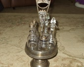 Silver Plate Cruet Condiment Set Antique Etched Glass or Crystal Ornate Vintage Antique Victorian Serving Silverplate