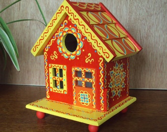 Whimsical Birdhouse Handpainted Red/Yellow/Orange/Blue Accent Colors/ Fun Architecture/Doodles and Dots/Floral Designs/Home Decor