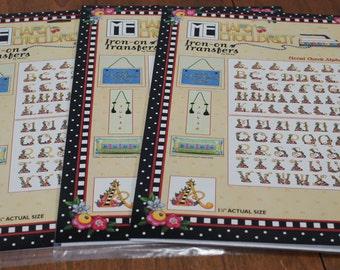 Mary Engelbreit Lot of 3 Iron-On Alphabet Transfers
