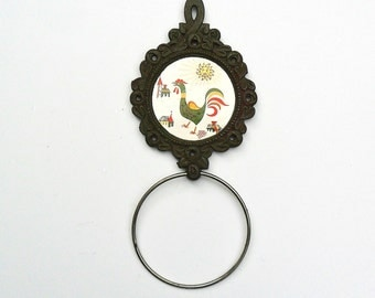 Kitchen Towel Holder Enesco Rooster Tile Cast Iron Trivet Style 1960s Towel Ring