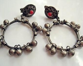 Egyptian Earrings, 600 Silver, Boho Hoop Earrings, Egyptian Jewelry, Clip On, Ethnic Jewelry, Zar Dance Jewelry