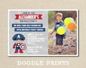 "Super Hero Invitation - Captain America Avenger Printable Birthday Invitation - Picture Customized Printable Boy's Party 5x7"" or 4x6"""