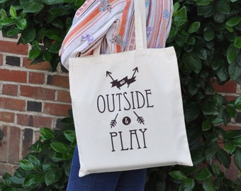 Go Outside & Play tote bag | Library book bag | Grocery bag | brown ink