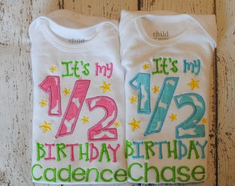 It's my 1/2 Birthday Shirt or body suit with Name Personalized