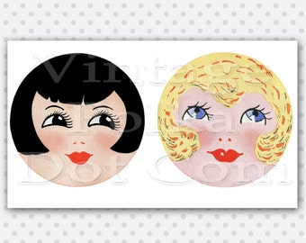 Doll Making Supplies Face Pattern Clip Art Graphics Digital Instand Download 1920's Girls in Blond and Black Hair