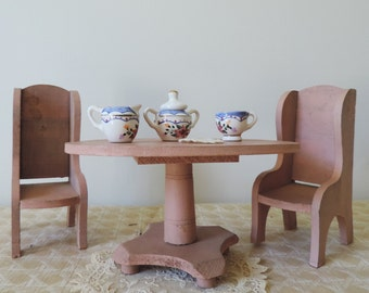 Antique Doll Furniture with Tea Set Wood Table and Chairs Large Scale Pink Painted Wood with Porcelain and Doily Dolls Tea Party