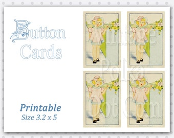 Vintage Button Cards Clip Art Digital Graphics Clipart Printable Collage Sheet 4 Cards Instant Download Little Girl and Flowers