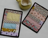 Calico Flowers Patchwork Potholders - Set of 2 - Handquilted