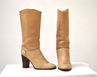 Vintage Tan Leather Boots Size 6 1/2 7 By Ottorino Bossi // Vintage Leather Boots Size 6 1/2 Camel Tan High Heels Made in Italy Size 37