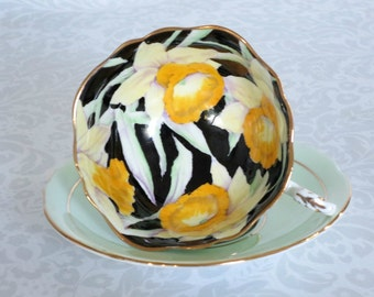 Mint Green Paragon Tea Cup and Saucer  /  Vintage Paragon Teacup & Saucer  /  Hand Painted Daffodils Cup and Saucer /  Gifts For Her
