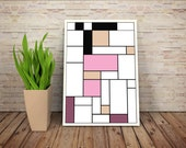 Amy Wong, De Stijl Minimalist Inspired Futurama Character Print // Color Blocks, Geometry, and Thin Line Grid Design