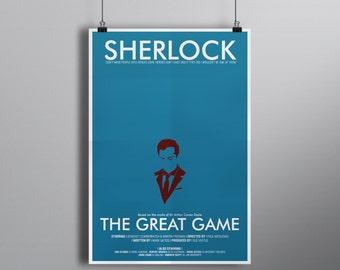 The Great Game, Minimalist Alternative Literature Poster // Typography and Moriarty Silhouette with Credits