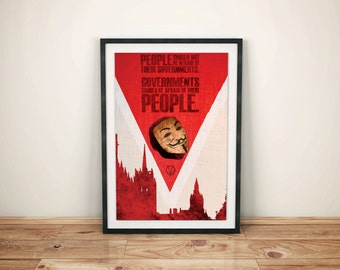 Fight for the Powerless // V for Vendetta Alternate Movie Poster // London Skyline, Guy Fawkes Mask, and Typography Quote Illustration