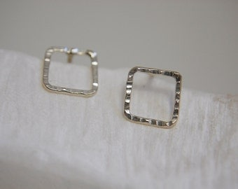 LOCATIONS. Silver squares earrings.