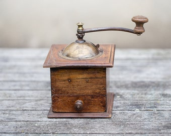Antique Coffee Grinder Peugeot Wood French Cube Mill Rustic Kitchen French Home Decor Cottage Country Chic