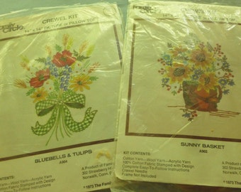 Crewel Kit for Picture or Pillow by Family Circle -  Choice of Bluebells and Tulips or Sunny Basket - Size 14 x 14 - 1973 - NC
