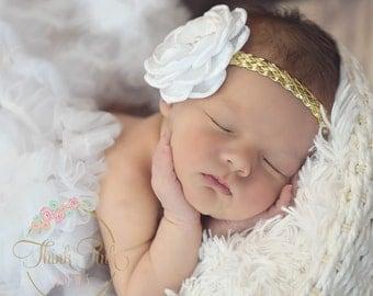 Baby headbands, Baby Headband, Newborn headband, Gold baby Headband, Pink Baby Headband, White baby headband, Baptism Christening Headband.