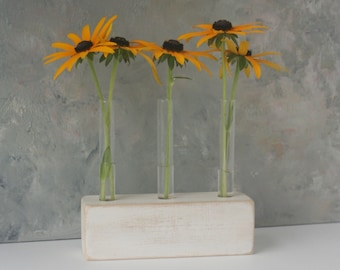 Test tube Flower Vase, small vase, bud vase, white, rustic, wood