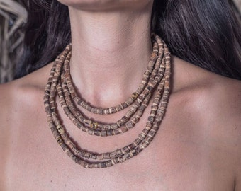 Tulsi necklace ~ 5 Strands Earthy Large necklace ~