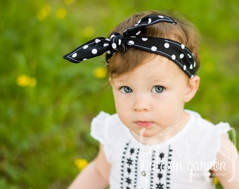 Headband Baby Toddler Pre-tied Headscarf Black with White Polka Dots Rosie the Riveter Baby Headband Photo Prop Infant Newborn #029