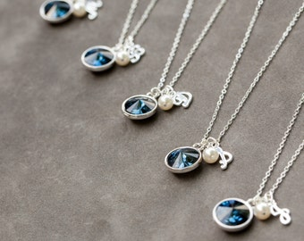 Bridesmaid Necklace Silver, Personalized Bridesmaid Jewelry, Navy Blue Bridal Party Jewelry Set of 5, Custom Initial Necklace