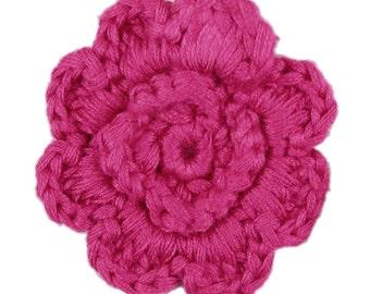 Hot Pink Crochet Clip Flower