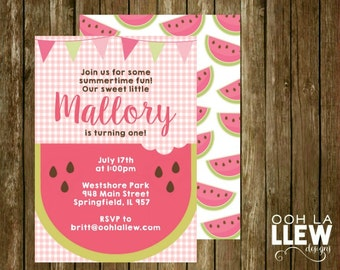 Watermelon Summertime Birthday Party Invitation