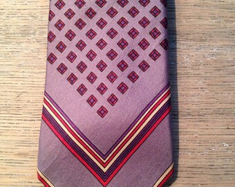 1960's Mens Skinny Red and Gray Geometric Necktie May Co Men's Stores- retro necktie,hipster necktie, skinny necktie, gray necktie, May Co