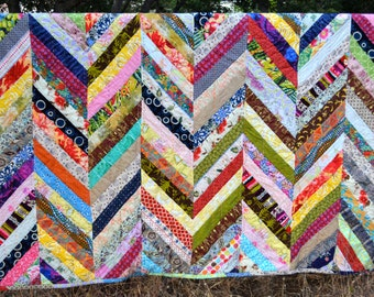 Full Size Hand Quilted Kantha Style Bed Quilt, Modern Herringbone