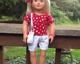 Red and White Polka Dot Shirt, white shorts, Purse,and Sandals to fit 18 Inch Doll like American Girl, girls gift, girl toy