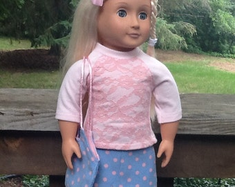 Blue and Pink POlka dot Skirt, Shirt and Purse 18 inch doll clothes to fit dolls like American Girl, girls gifts, girls toys