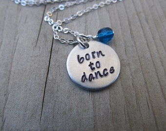 "Dancer's Inspiration Necklace- ""born to dance"" with an accent bead of your choice- Hand-Stamped Necklace by Jenn's Handmade Jewelry"