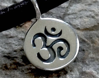 Sterling Silver Ohm Charm  - Small Round 8.75mm C153