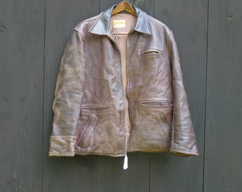 Vintage 1950's Penny's Leather Motorcycle Jacket size 46 Large
