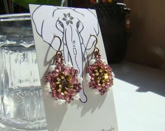 Bronze Rose Snowflake Crystal Dangle Beaded Round Earrings  Seed Bead Drop Earrings Beadwoven  Summer Casual Everyday ER0045
