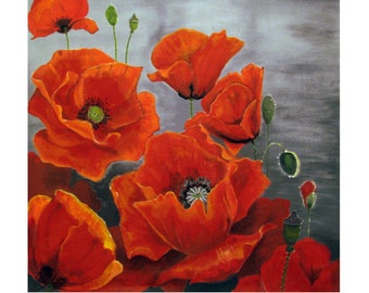 Provence Red Poppies, Coquelicot, Flowers bouquet, Original illustration Artist Print Wall Art, Free Shipping in USA.