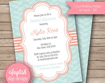 Mod Leaves Bridal Shower Invitation, Printable Leaf Bridal Shower Invitation, Leaf Bridal Shower Invite - Mod Leaves in Light Blue & Coral