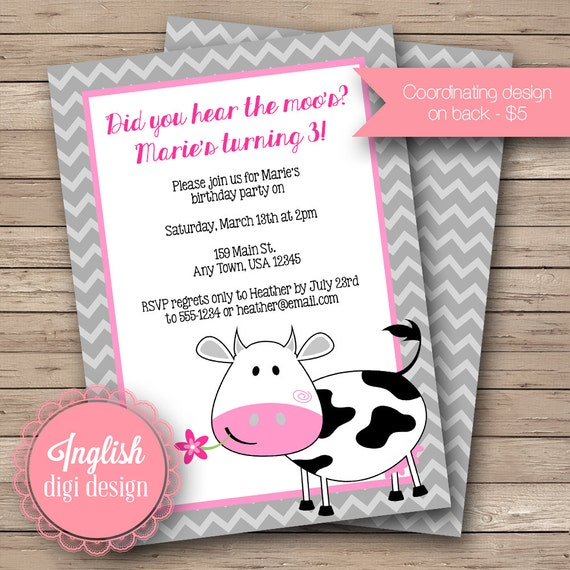 Printable cow birthday party invitation cow birthday party invite il570xn filmwisefo