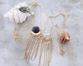 Cnidaria - vintage brass connector and stone bead tassel necklace