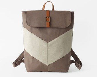 ChocoBrown, Oatmeal chevron canvas backpack / Laptop bag / diaper bag.  7 inside pockets. Waterproof poly lining available