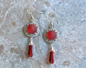 Vintage Earrings, Vintage Buttons, Red, Glass, Silver, Filigree, French Hook, Hand Wired, Jennifer Jones, Upcycled, Pierced, OOAK - Ruby