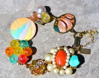 Bridesmaid Gift, Vintage Earring Bracelet, Repurposed, Enamel Flower, Peach, Aqua, Coral, Jennifer Jones, Under 40, OOAK - Tropical Cocktail
