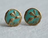 Bee Earrings ... Stud Earrings Post Earrings Turquoise Enamel