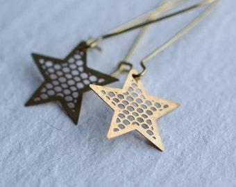 Industrial Star Earrings ... Vintage Brass Star Constellation Astrology