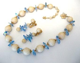 Vintage VENDOME Necklace Earrings Set w/ Rainbow AB Blue Rivoli & White Confetti Bead