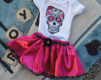 Olivia Paige - Cute baby Sugar skull outfit bodysuit with skirt