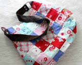 Patchwork purse with leather handle